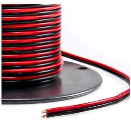 Valley Enterprises Red/Black Bonded Zip Cord Easy ID Low Voltage DC Power Cable (Gauge: 14, Length: 50 feet)