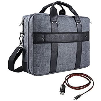 VanGoddy Trovo Heavy Duty Nylon Messenger Bag Tote Laptop Carrying Bag for Apple MacBook Series 11.6' 12' Laptop + Sync and Charge Cable