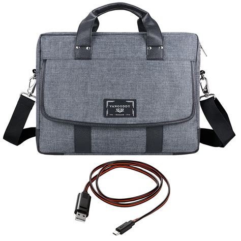 Vangoddy Chrono Grey Universal Tote Briefcase Messenger Laptop Bag for Fujitsu Lifebook Series 14' Notebook Ultrabook + Sync and Charge Cable