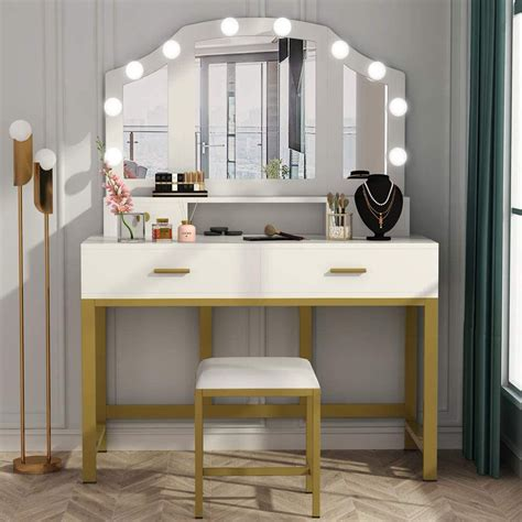 Vanity Dressing Table With Mirrors Overstock