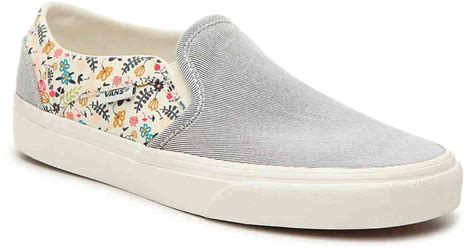 Vans Asher Stripe Floral Slip On Sneaker Women's