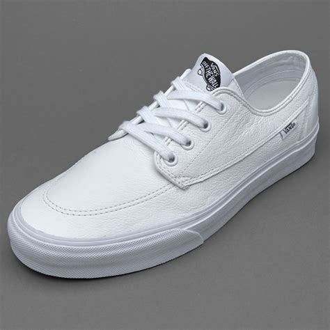 Vans Brigata Leather Sneakers In White