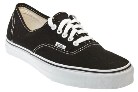 Vans Mens Canvas Authentic Black And White Sneakers