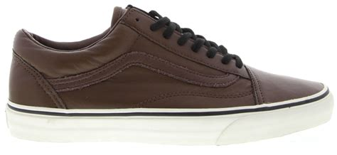 Vans Unisex Old Skool Beige Brown Leather Fashion Sneakers Shoes