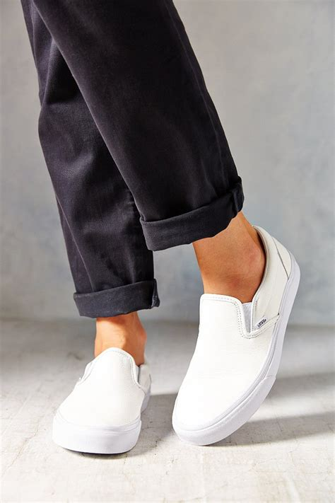 Vans Womens White Leather Sneakers