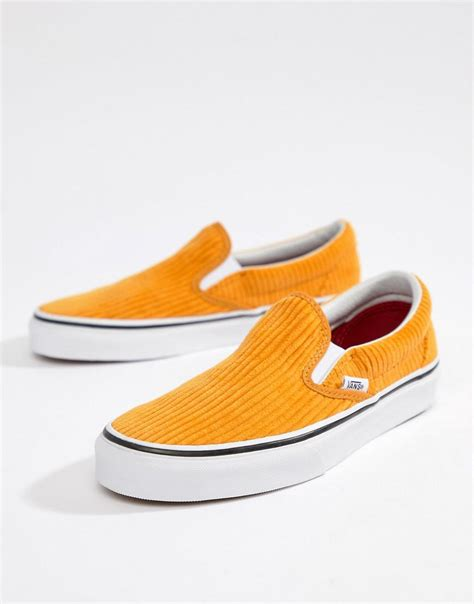 Vans Yellow Corduroy Classic Slip On Sneakers