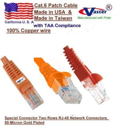 VasterCable Cat.6 Cable, 10 Pcs/Pack, 25 Ft UTP CAT6 Gigabit Patch Cable, ORANGE Color