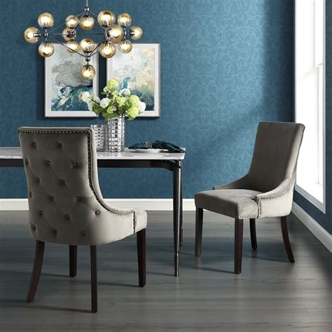 Velvet Nailhead Dining Chairs