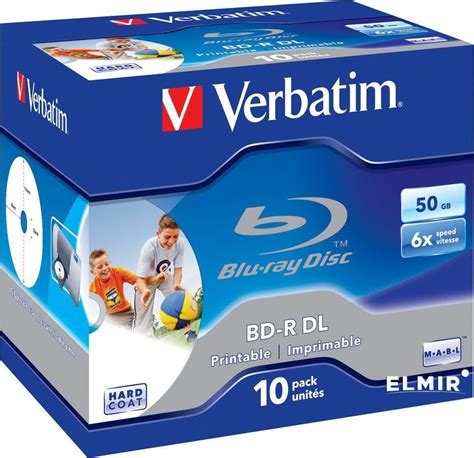 Verbatim 43736 BD-R DL 50GB 6x Wide Printable Jewel Case (Pack of 10)