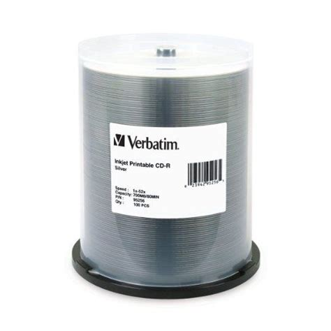 Verbatim 700 MB 52x 80 Minute Silver Inkjet Printable Recordable Disc CD-R, 100-Disc Spindle 95256 Portable Consumer Electronics Home Gadget