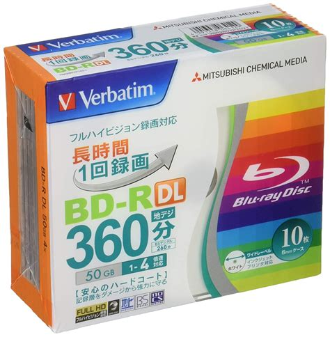 Verbatim Mitsubishi 50GB 4x Speed BD-R Blu-ray Recordable Disk 10 Pack - Ink-jet printable - Each disk in a jewel case
