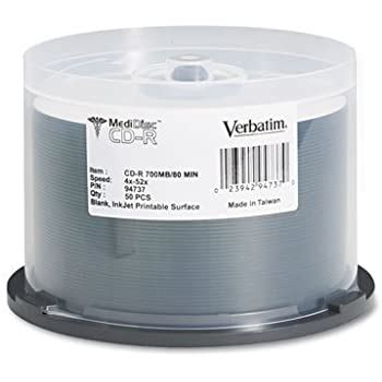 Verbatim® - Medical Grade CD-R Discs, 700MB/80min, 52x, Spindle, White, 50/Pack - Sold As 1 Pack - High-performance metal azo dye.