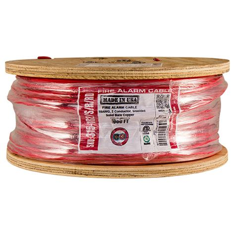 Vertical Cable Fire Alarm Cable, 18 AWG, 2 Conductor, Solid, Unshielded, FPLR (Riser), 1000ft Spool, Yellow - Made in USA