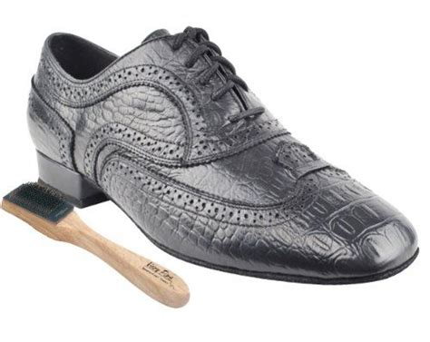 Very Fine Mens Salsa Ballroom Tango Dance Shoes CD9002A Croc Embossed Leather Bundle - Shoe Wire Brush 1'