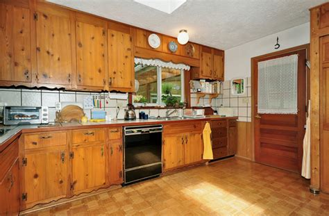 Vintage Knotty Pine Kitchen Cabinets For Sale