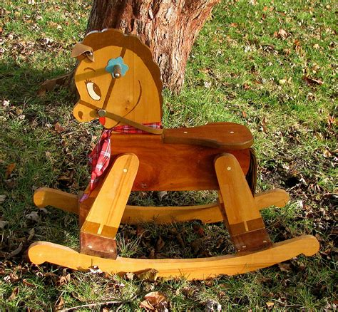 Vintage Small Wooden Rocking Horse