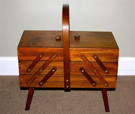 Vintage Wood Sewing Box