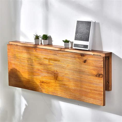 Wall Mounted Drop Leaf Table Solid Wood Folding Dining Table Desk