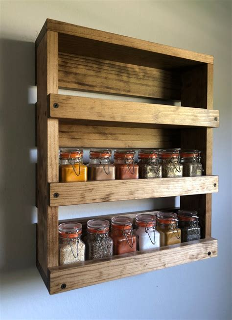 Wall Spice Rack Rustic Diy Wedding