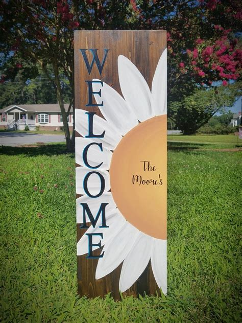 Welcome Wood Sign With Flowers