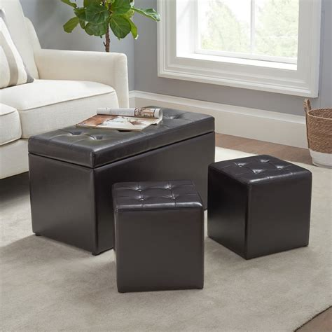 Wells 3 Piece Storage Ottoman Set