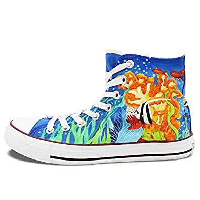 Wen Hand Painted Shoes Design Girl in Coastal Sea Unisex Hi-top Canvas Sneakers