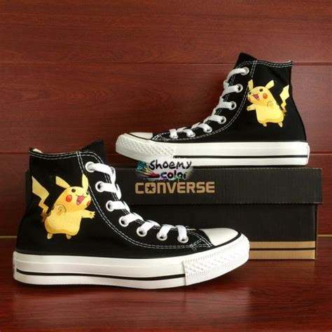 Wenartwork Pokemon Nidorina Black Converse Shoes Hand Painted Canvas Sneakers