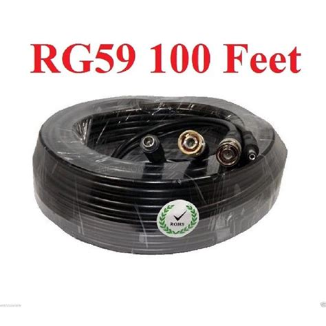 WennoW HEAVY DUTY RG59U SIAMESE CCTV POWER VIDEO CABLE CAMERA WIRE - 100 FT CABLES