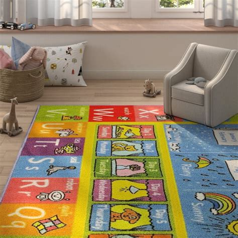 Weranna Abc Seasons Months And Days Of The Week Educational Learning Blue/Yellow Indoor/Outdoor Area Rug