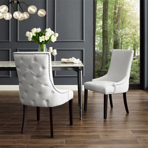 White All Leather Dining Chairs With Spring