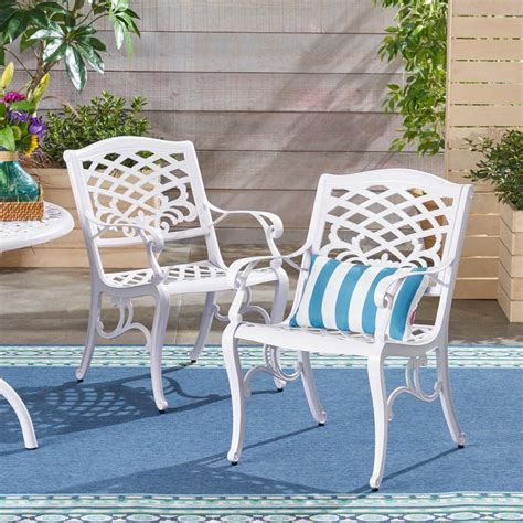 White Aluminum Patio Dining Chairs