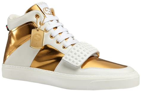White And Gold Gucci Sneakers