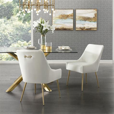 White And Gold Leather Dining Chair
