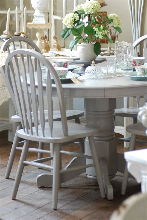 White And Gray Kitchen Table And Chairs