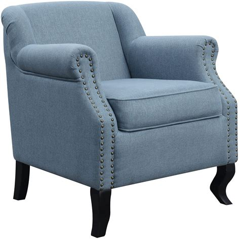 White And Light Blue Accent Chair