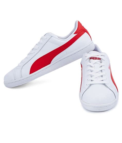 White And Red Puma Sneakers