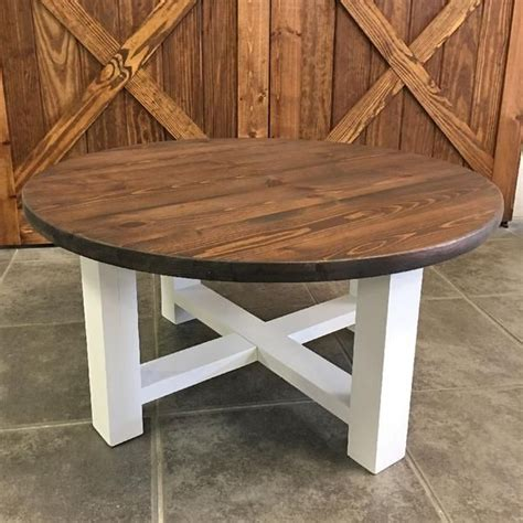 White And Wood Round Coffee Table Plans