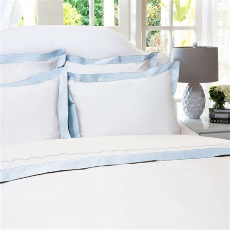 White Bedding With Blue Border
