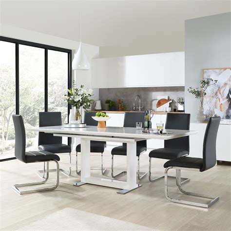 White Gloss Dining Table And 8 Chairs