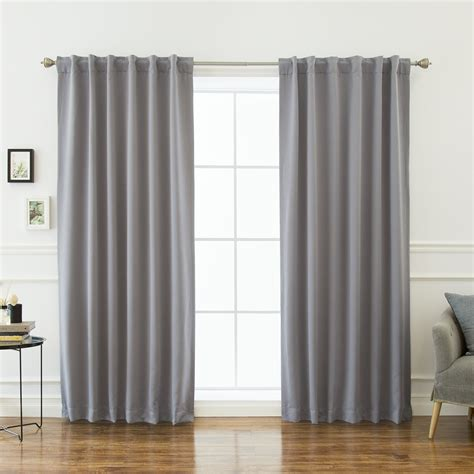 White Grey Blackout Curtains