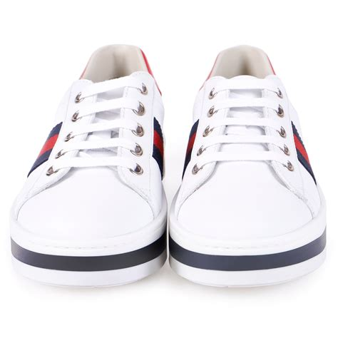 White Gucci Lace Up Sneaker