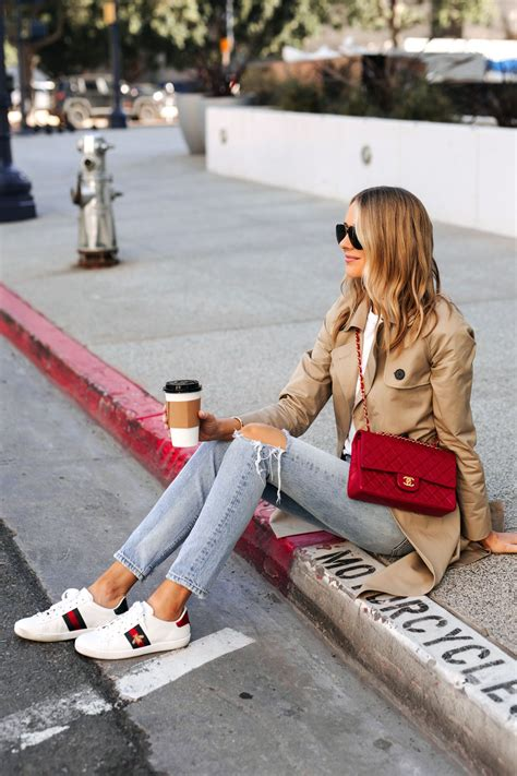 White Gucci Sneakers Outfit