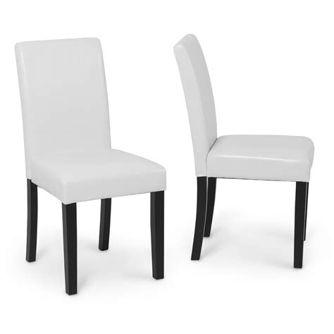 White Leather Parsons Dining Chairs