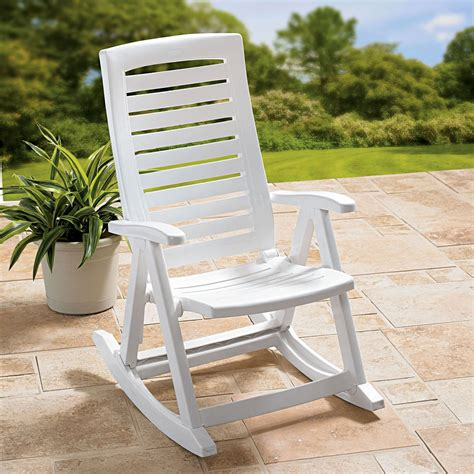 White Plastic Seat Outdoor Rocking Chair
