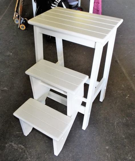White Wood Folding Step Stool