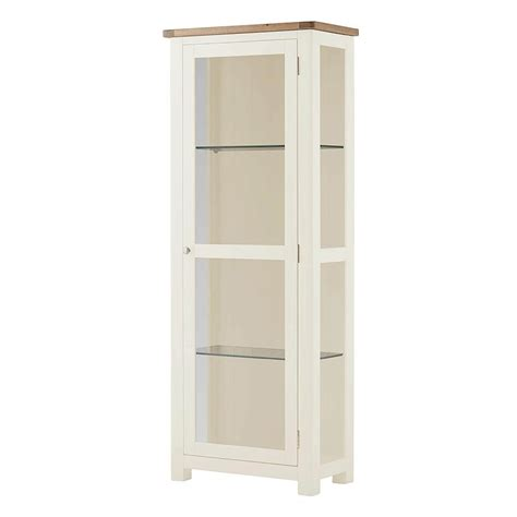 White Wood Glass Display Cabinet