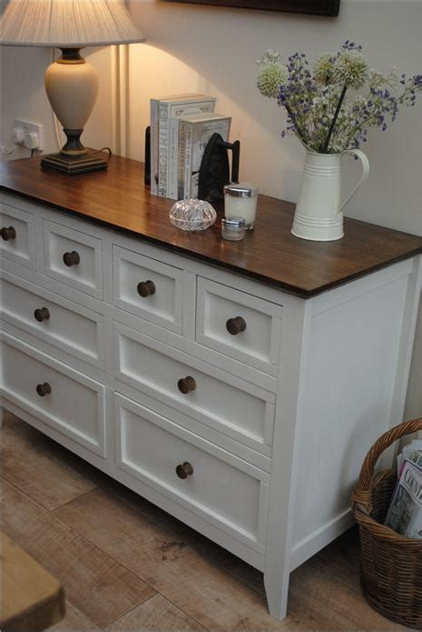White dresser with dark wood top.aspx Image