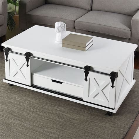 White-Farmhouse-Coffee-Table-With-Drawers