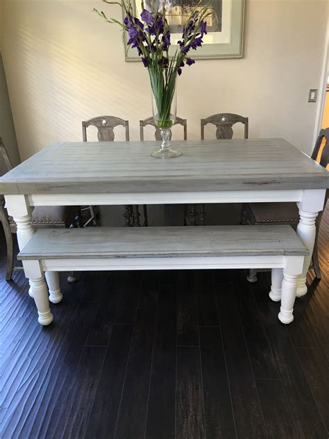 White-Farmhouse-Table-With-Gray-Top