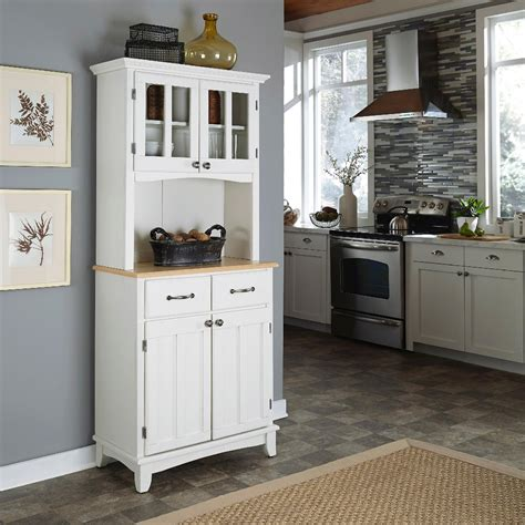 White-Hutch-Buffet-With-Wood-Top